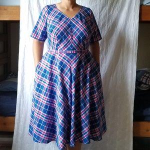 Plaid cotton midi dress